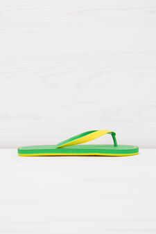 Thong sandals with contrasting colour band., Green, hi-res