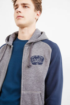 Cotton hoodie with patch, Grey Marl, hi-res