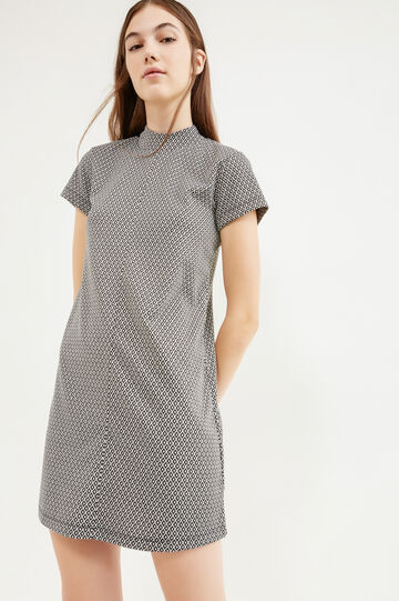 Stretch dress with geometric pattern, White/Black, hi-res