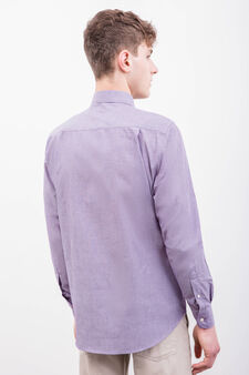 Regular-fit striped formal shirt, Purple, hi-res