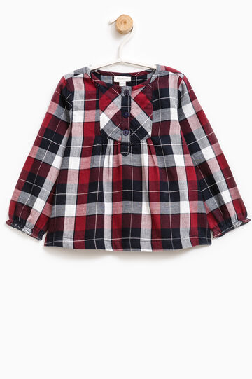 Check shirt in cotton blend, Blue/Red, hi-res