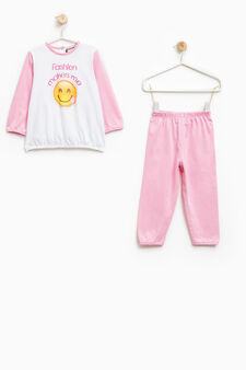 Cotton pyjamas with printed front, White/Pink, hi-res