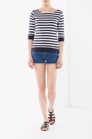 Striped cotton T-shirt, White/Blue, hi-res