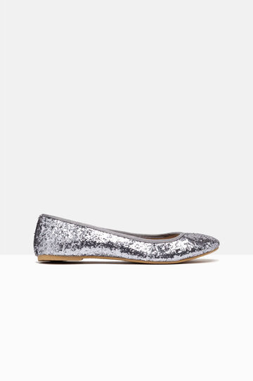 Glitter ballerina pumps with round toe, Grey/Silver, hi-res