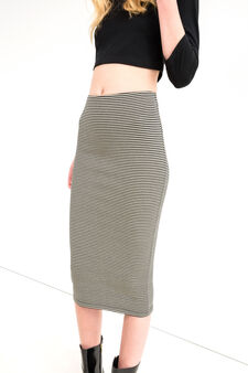 Stretch pencil skirt with striped pattern, Black, hi-res
