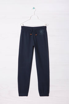 Pantaloni in cotone con coulisse, Blu navy, hi-res