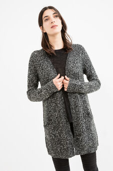 Long cardigan without buttons, Black, hi-res