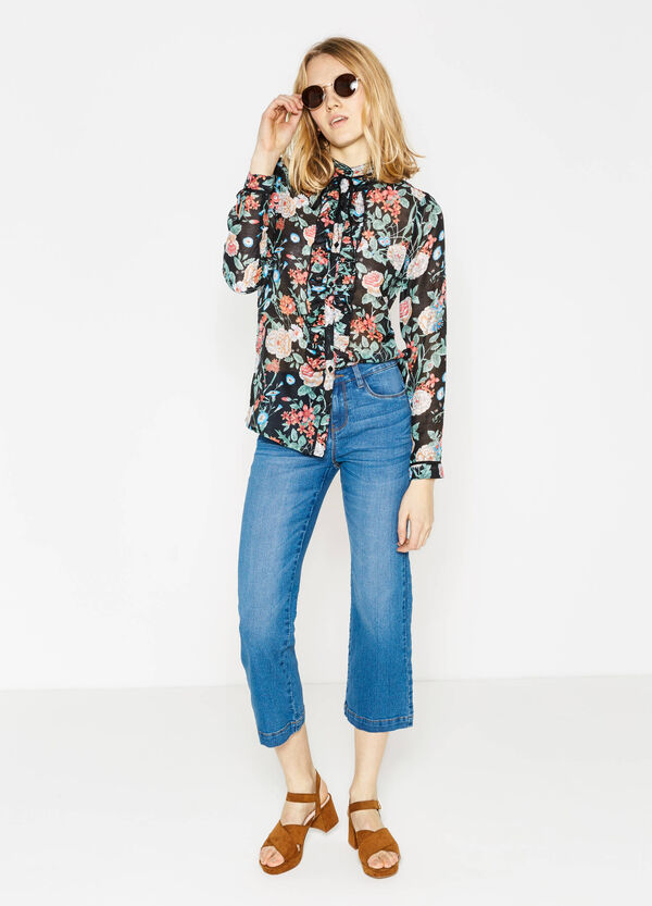 Worn-effect flare-fit, cropped stretch jeans | OVS