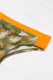 Dinosaur print stretch swimming trunks, Army Green, hi-res
