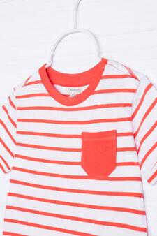T-shirt puro cotone a righe, Bianco/Arancione, hi-res