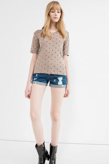T-shirt in 100% cotton with star pattern, Beige, hi-res