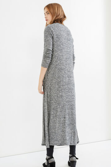 Long viscose cardigan with slits, Grey, hi-res