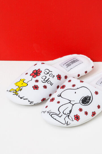 Canvas slippers with Snoopy pattern, Cream White, hi-res