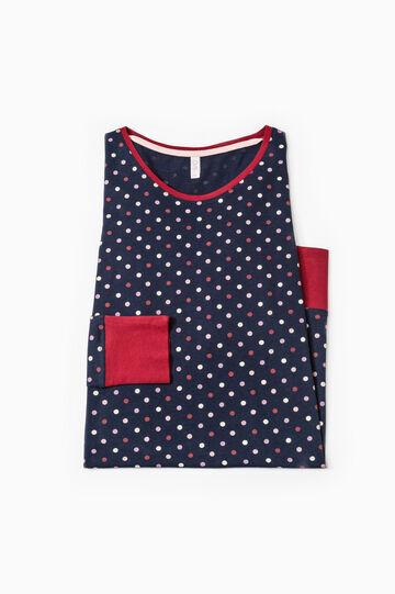 Polka dot cotton nightshirt, Navy Blue, hi-res