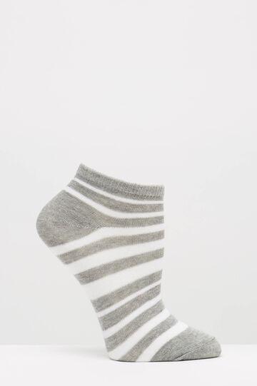 Calze corte stretch fantasia righe, Bianco, hi-res