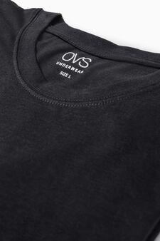 Cotton undershirt with crew neck, Black, hi-res