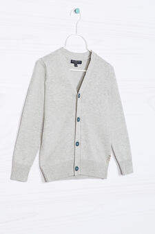 Knitted cardigan in 100% cotton., Grey Marl, hi-res