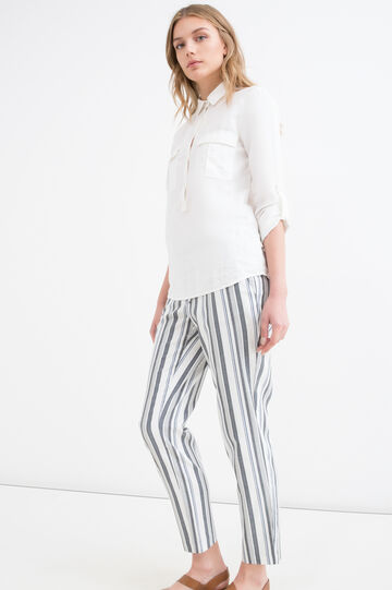 Striped stretch trousers, Black/Blue, hi-res