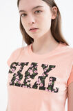 Cotton T-shirt with printed lettering, Pink, hi-res