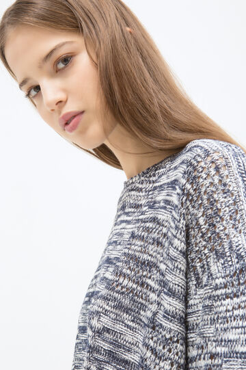 T-shirt misto viscosa traforata, Bianco/Blu, hi-res