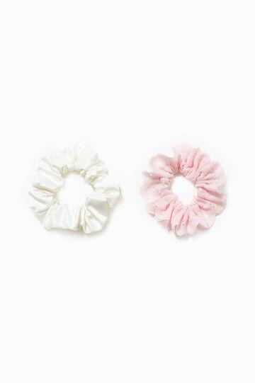 Set due elastici per capelli tinta unita, Bianco/Rosa, hi-res
