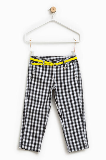 Checked trousers with butterfly patch