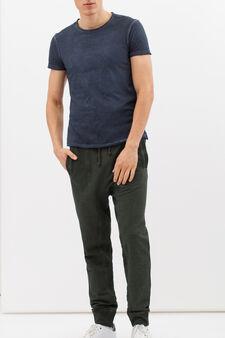 Pantaloni tuta puro cotone delavé, Verde, hi-res