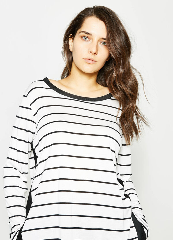 Curvy long-sleeved striped T-shirt | OVS