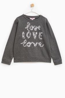 Sequinned sweatshirt in 100% cotton, Dark Grey, hi-res