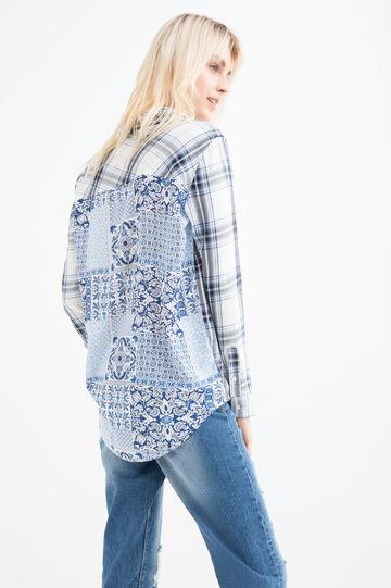 100% viscose patterned shirt, Blue, hi-res