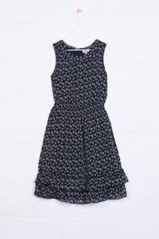 Dress with printed flounces, Black, hi-res
