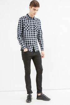 Casual slim-fit tartan shirt in cotton, Black/White, hi-res