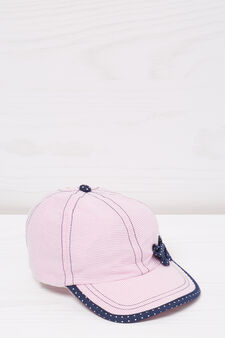 Cotton baseball cap with bow, Pink, hi-res