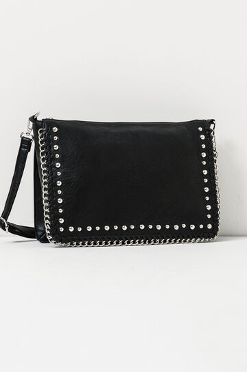 Shoulder bag with studs and chain, Black, hi-res