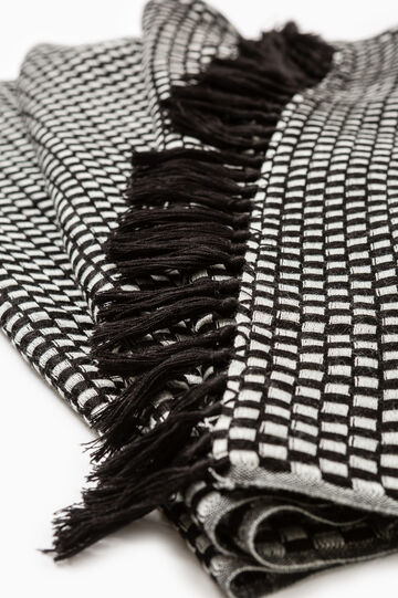 Check pattern scarf in wool blend, Black/White, hi-res