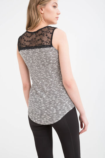 Viscose blend top with lace, Black, hi-res