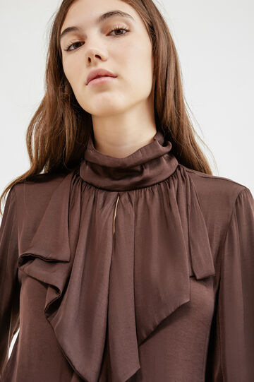 Blouse with flounces and opening on the back, Chocolate Brown, hi-res