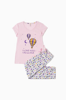 100% cotton printed pyjamas, Grey/Pink, hi-res