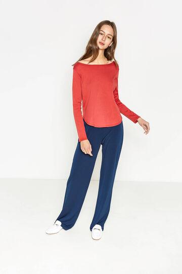 T-shirt in puro cotone con fondo stondato, Rosso, hi-res