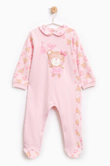 Sleep suit with teddy bear pattern, Pink, hi-res