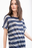 T-shirt in striped viscose blend, White/Blue, hi-res