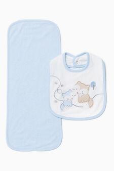 Towel and bib set, Light Blue, hi-res