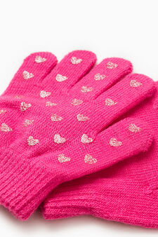 Gloves with glitter hearts, Fuchsia, hi-res