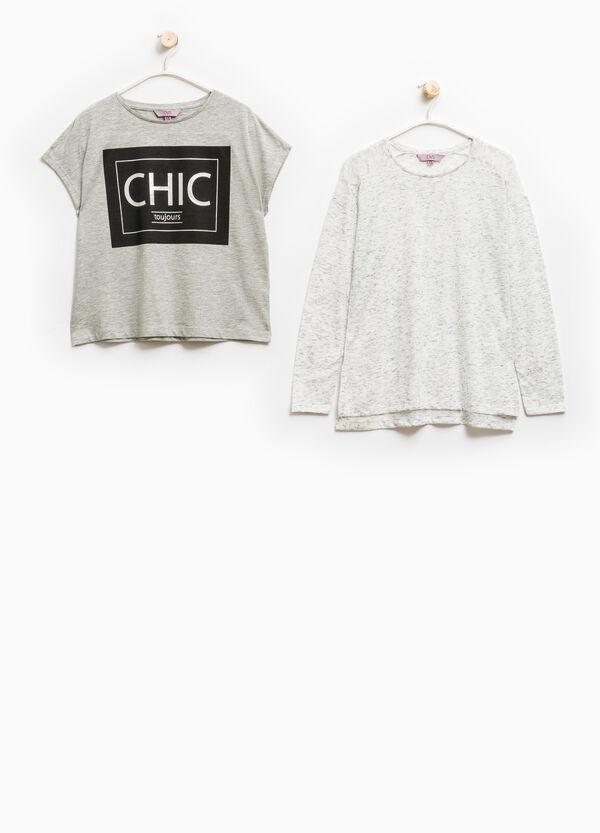 Camiseta doble en algodón 100% con estampado | OVS