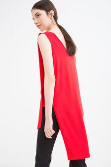 Solid colour stretch viscose top, Red, hi-res