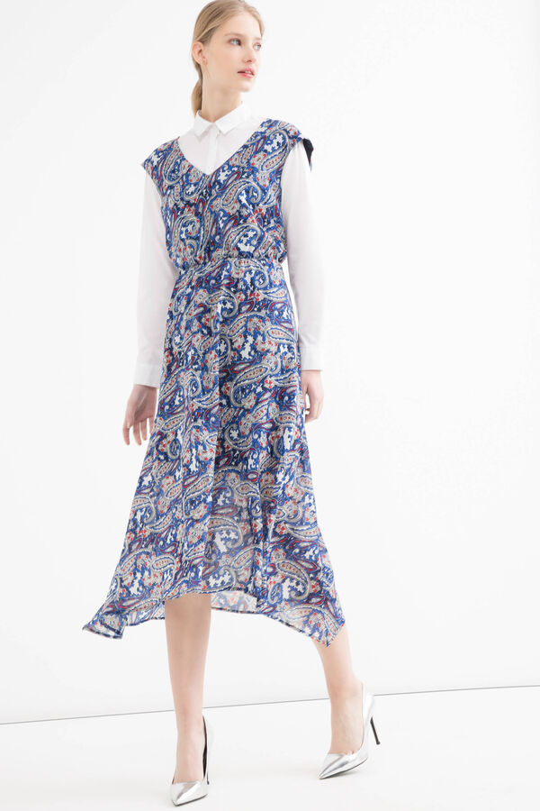 V-neck, full-length patterned dress | OVS
