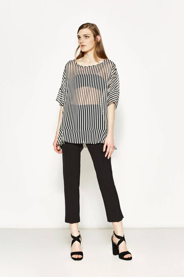 Striped blouse with batwing sleeves