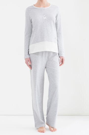 Printed pyjamas with bow, Grey Marl, hi-res