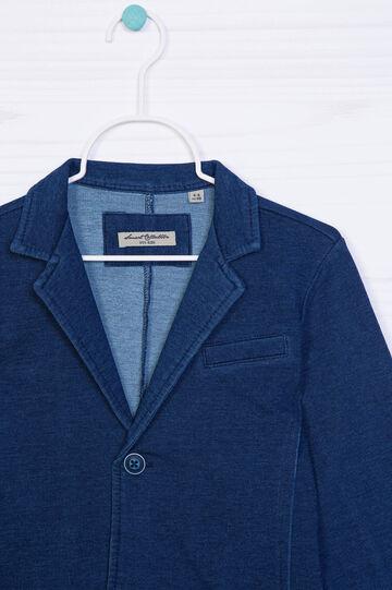 Cotton blend jacket with lapels, Denim Blue, hi-res