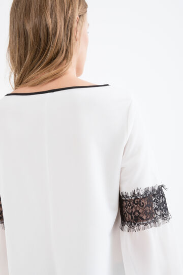 Stretch blouse with lace, White, hi-res